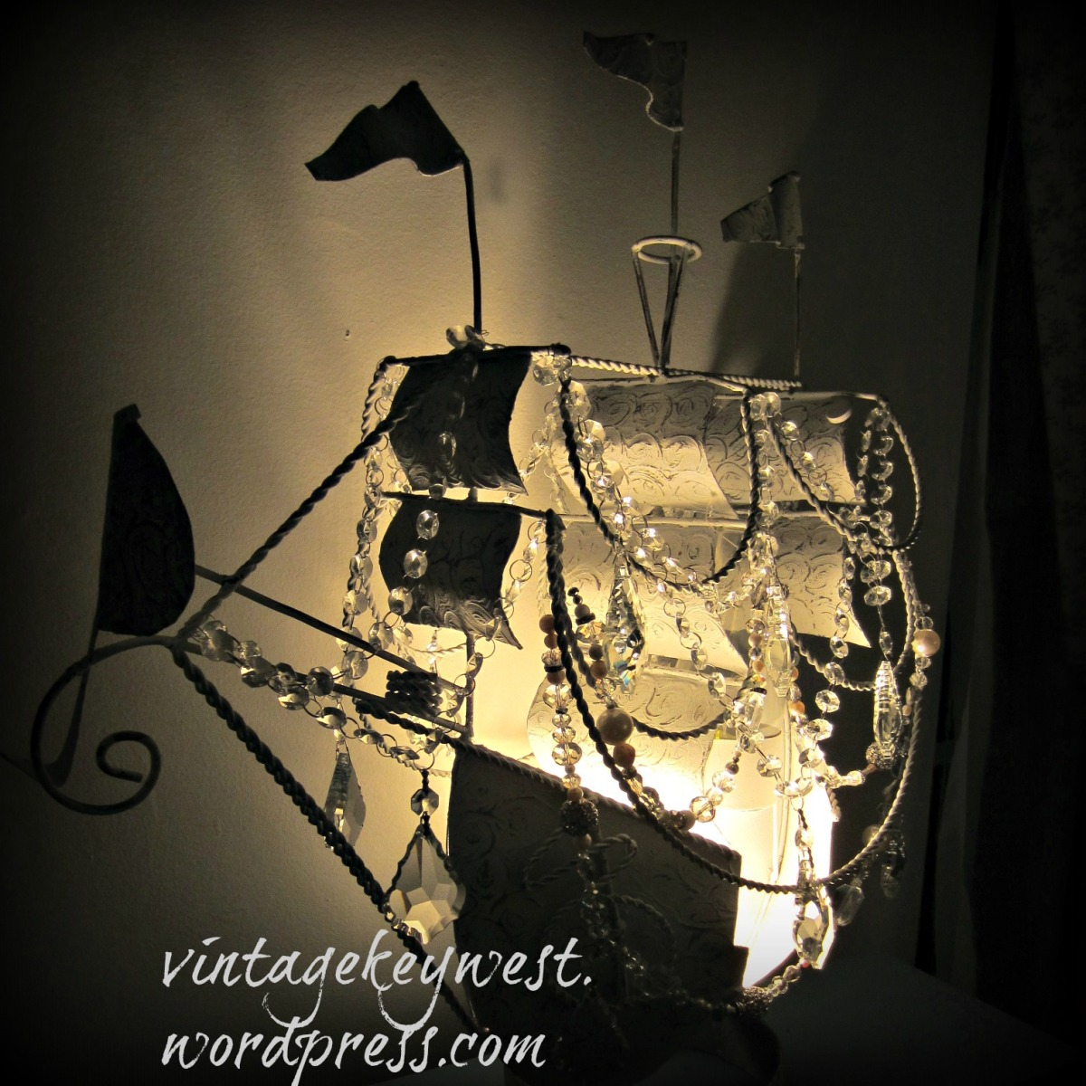 Pirate Ship Chandelier, Vintage Lamp Makeover
