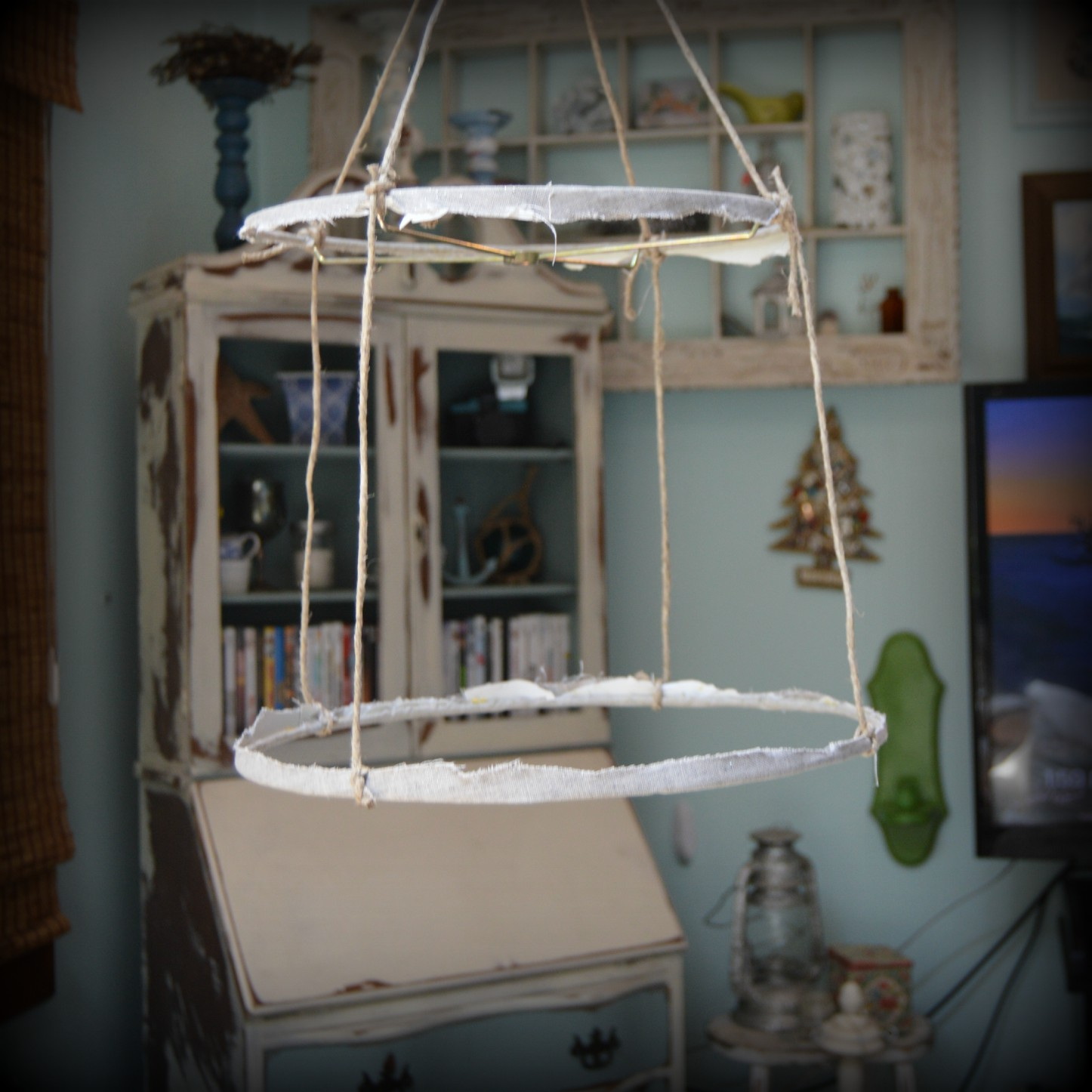 Easy Shabby Chic Rag and Crystal Chandelier – Vintage Key West