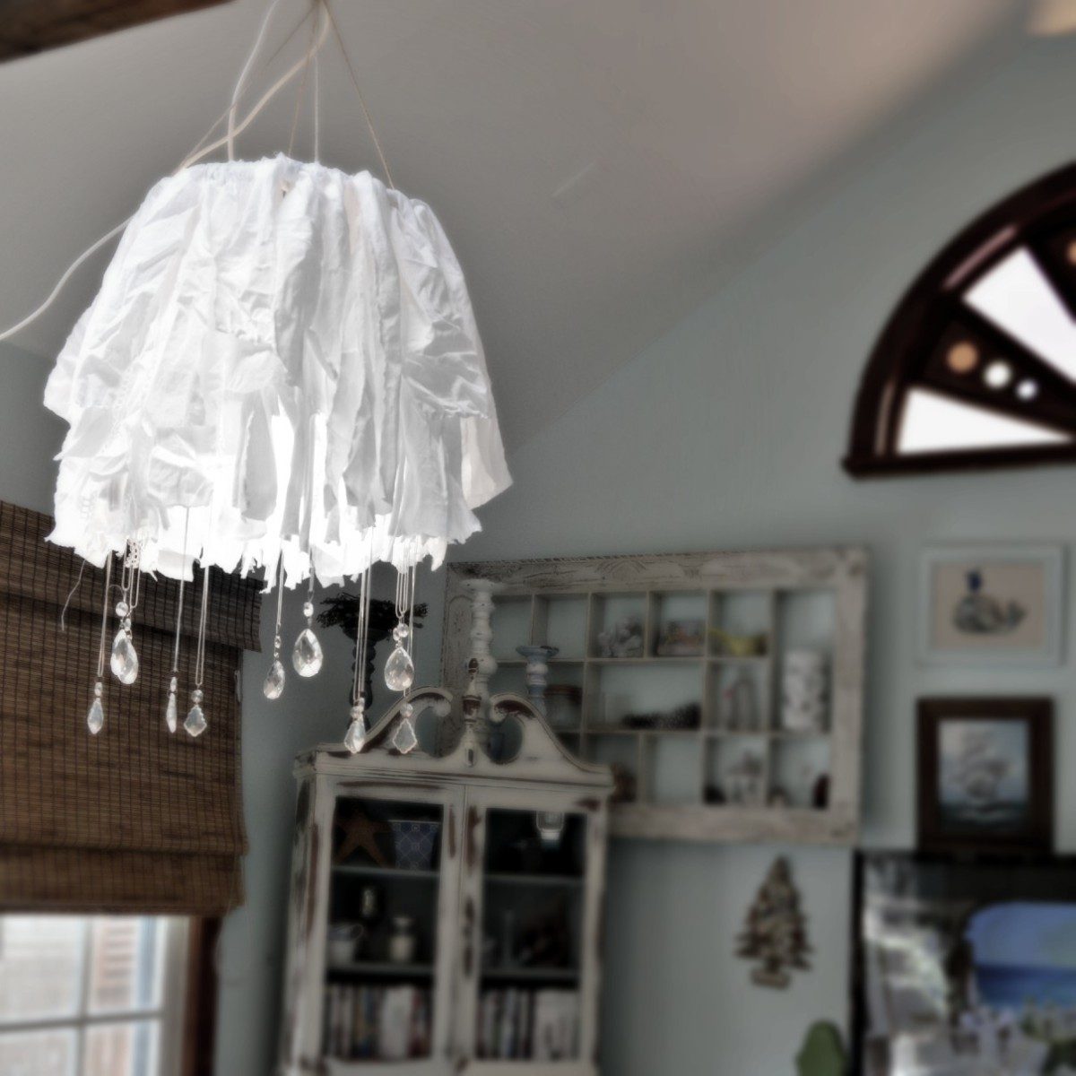 Easy Shabby Chic Rag and Crystal Chandelier