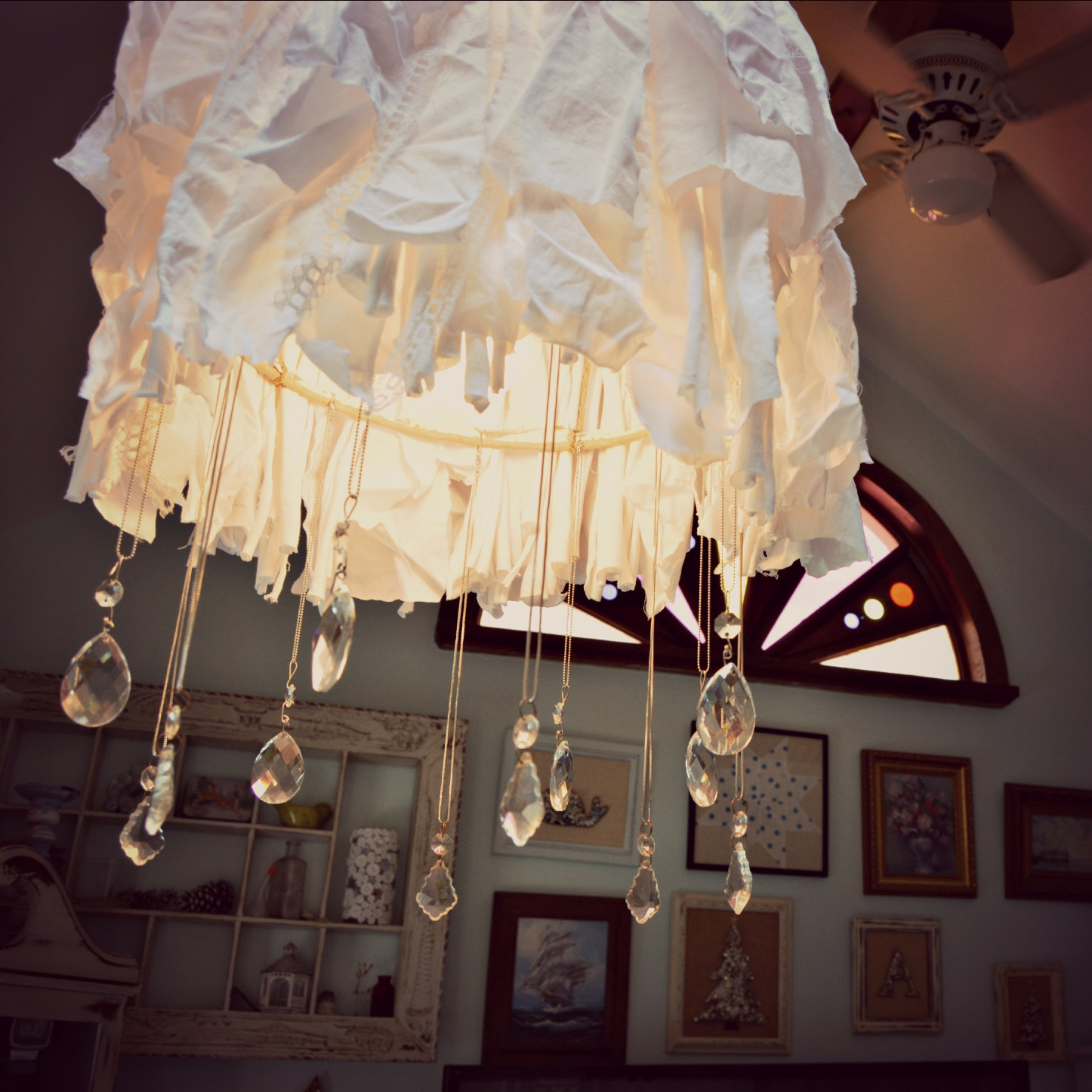Easy shabby chic rag and crystal chandelier vintage key west for Key west style lighting