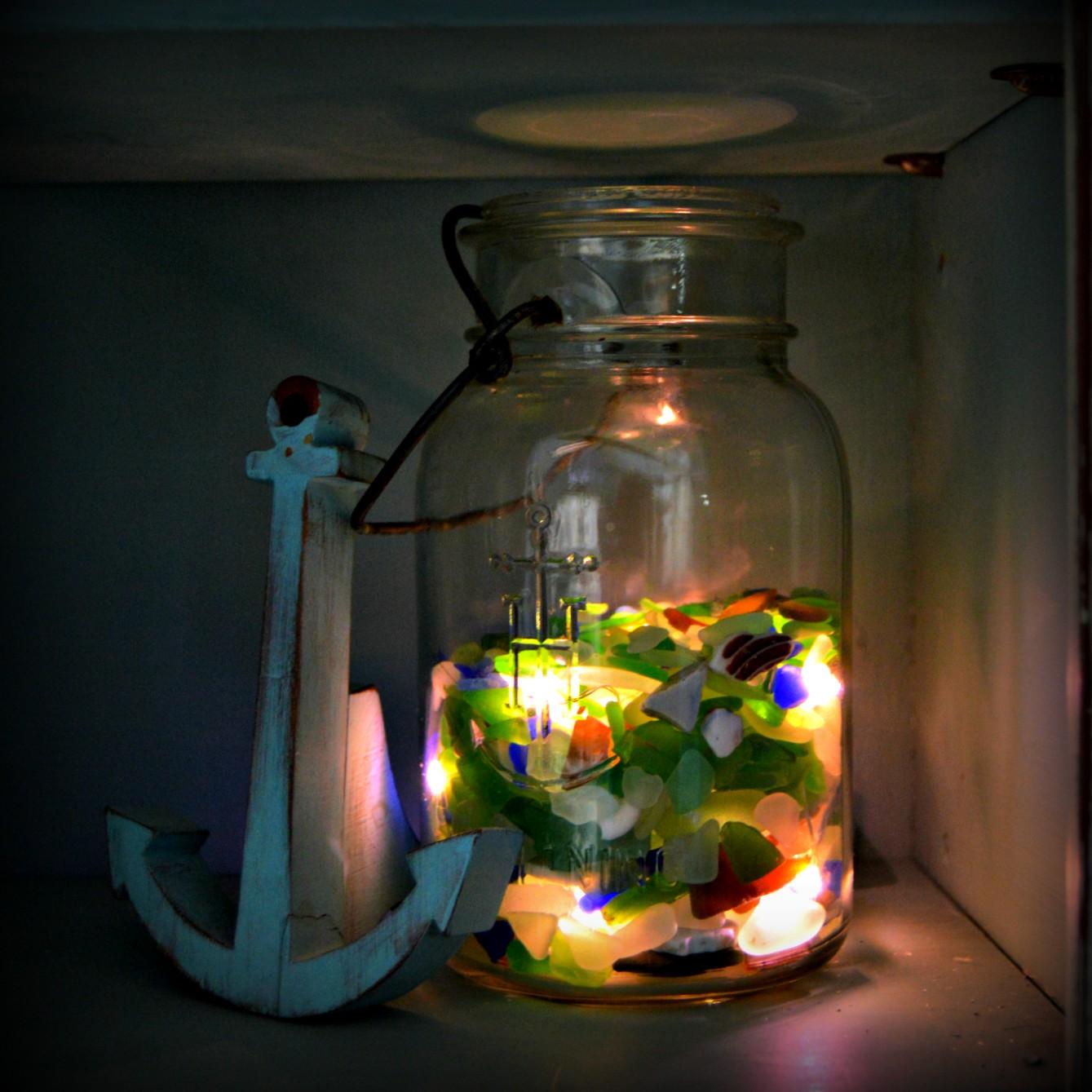 Glass Jar String Lights : Sea Glass Luminary Vintage Key West